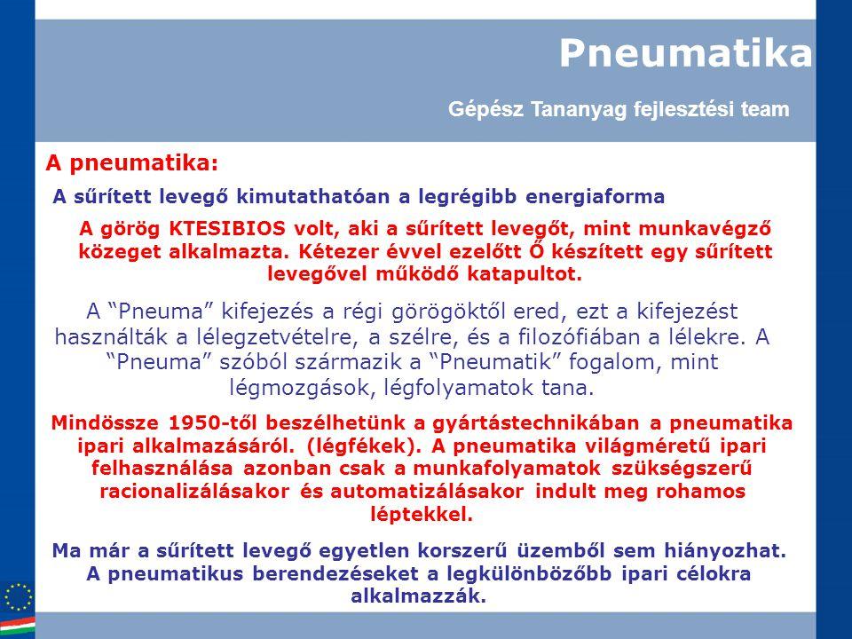 Pneumatika A pneumatika: A sűrített levegő kimutathatóan a legrégibb energiaforma A görög KTESIBIOS volt, aki a sűrített levegőt, mint munkavégző közeget alkalmazta.