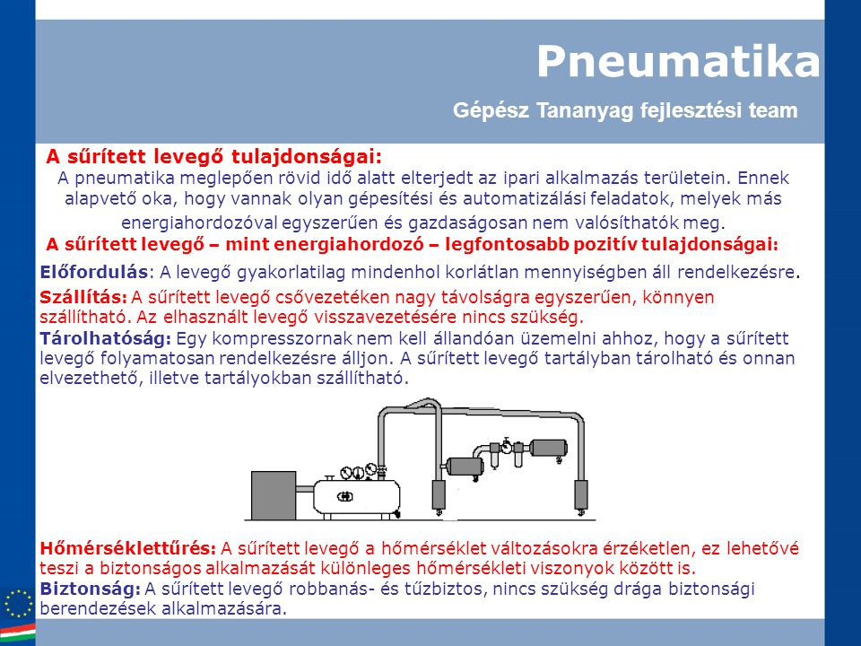 Pneumatika A sűrített levegő tulajdonságai: A pneumatika meglepően rövid idő alatt elterjedt az ipari alkalmazás területein. Ennek alapvető oka, hogy