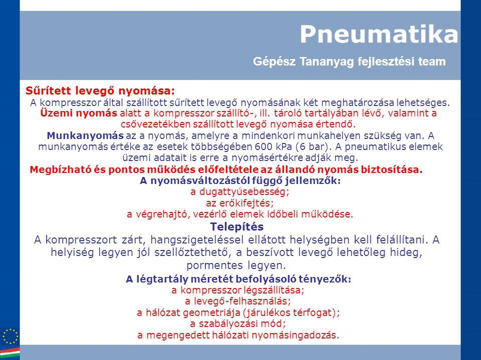 Pneumatika Sűrített levegő nyomása: A kompresszor által szállított sűrített levegő nyomásának két meghatározása lehetséges.