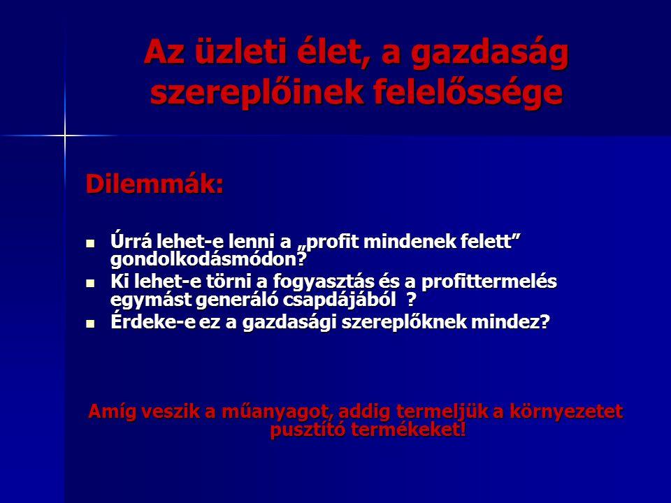 """Az üzleti élet, a gazdaság szereplőinek felelőssége Dilemmák: Úrrá lehet-e lenni a """"profit mindenek felett gondolkodásmódon."""