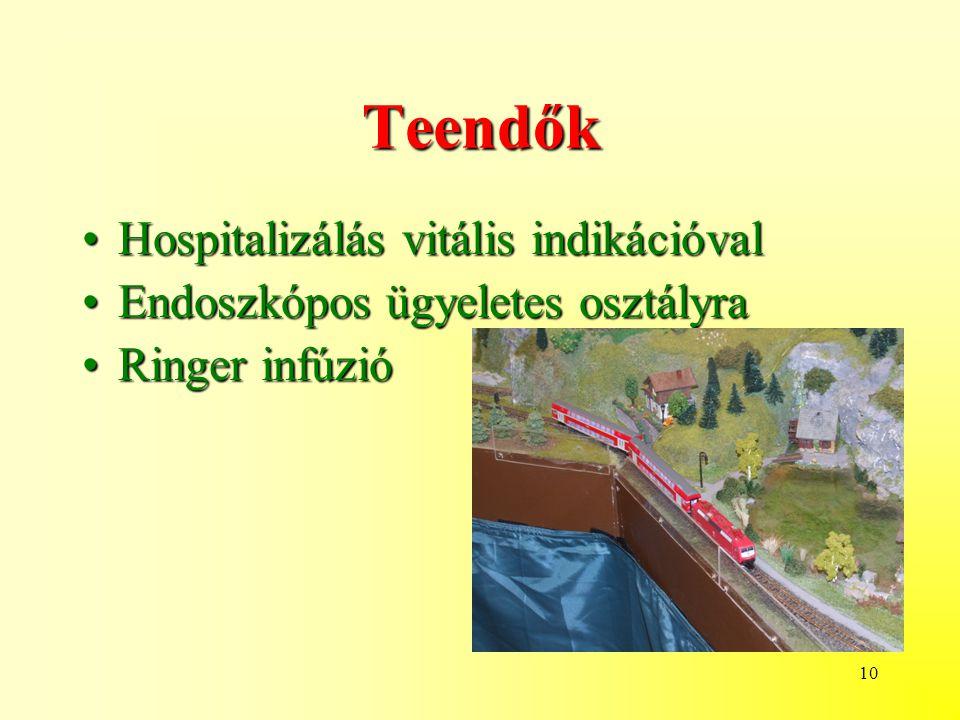 10 Teendők Hospitalizálás vitális indikációvalHospitalizálás vitális indikációval Endoszkópos ügyeletes osztályraEndoszkópos ügyeletes osztályra Ringer infúzióRinger infúzió