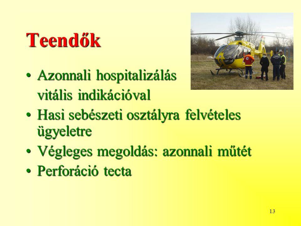 13 Teendők Azonnali hospitalizálásAzonnali hospitalizálás vitális indikációval vitális indikációval Hasi sebészeti osztályra felvételes ügyeletreHasi sebészeti osztályra felvételes ügyeletre Végleges megoldás: azonnali műtétVégleges megoldás: azonnali műtét Perforáció tectaPerforáció tecta