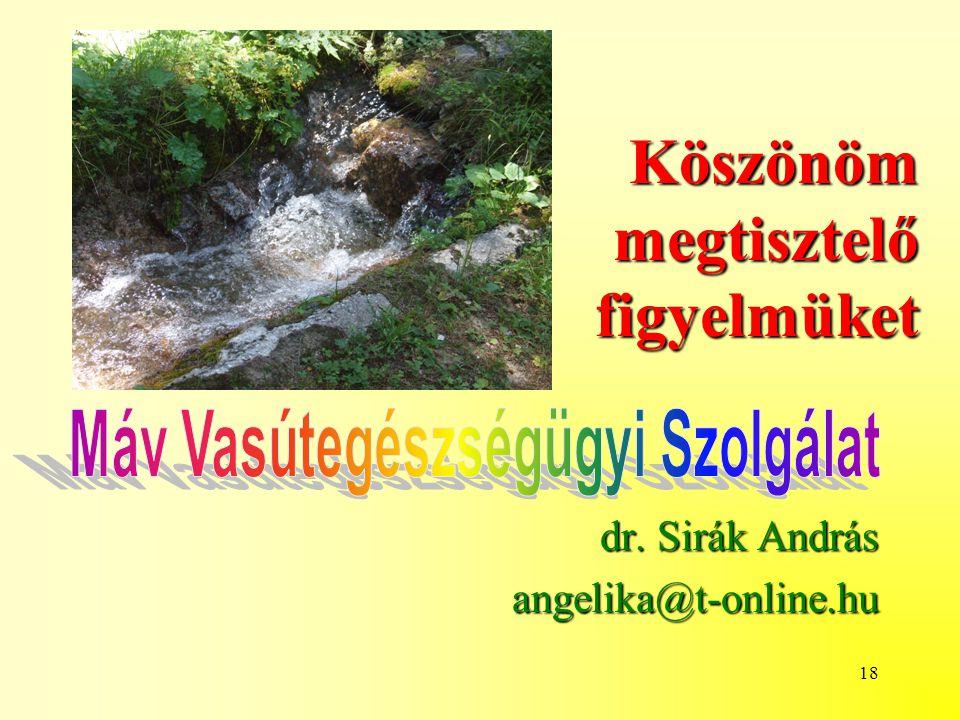 18 Köszönöm megtisztelő figyelmüket dr. Sirák András angelika@t-online.hu