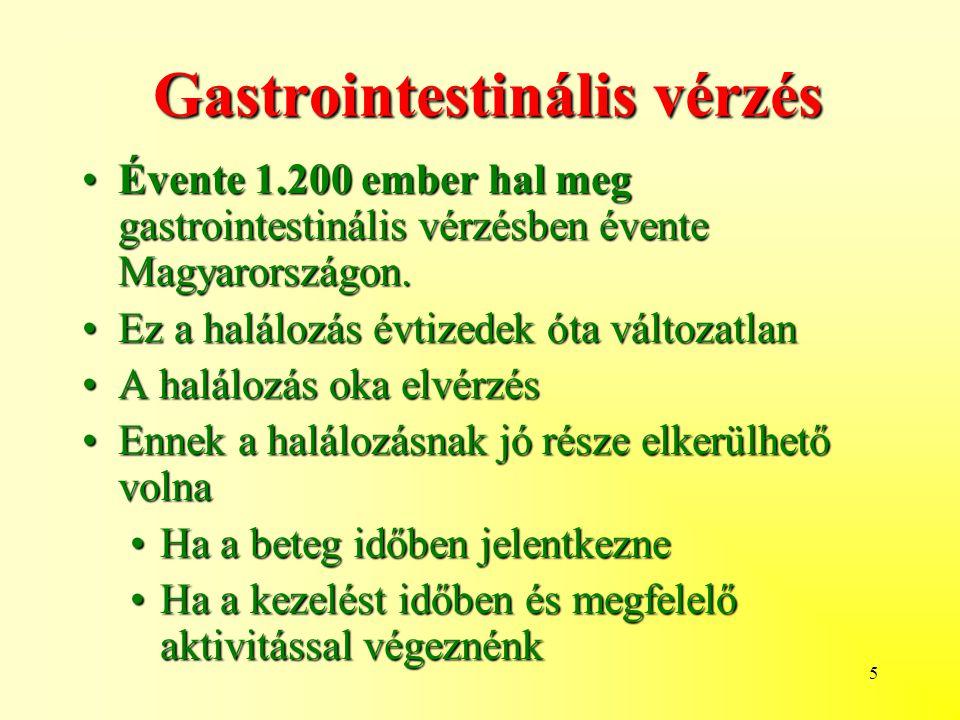 5 Gastrointestinális vérzés Évente 1.200 ember hal meg gastrointestinális vérzésben évente Magyarországon.Évente 1.200 ember hal meg gastrointestinális vérzésben évente Magyarországon.