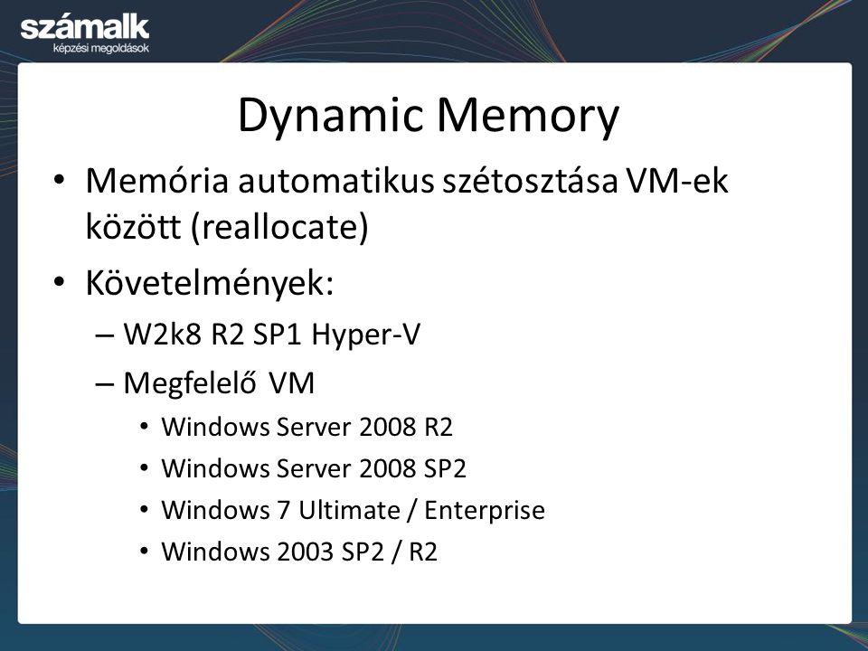 Dynamic Memory Memória automatikus szétosztása VM-ek között (reallocate) Követelmények: – W2k8 R2 SP1 Hyper-V – Megfelelő VM Windows Server 2008 R2 Wi