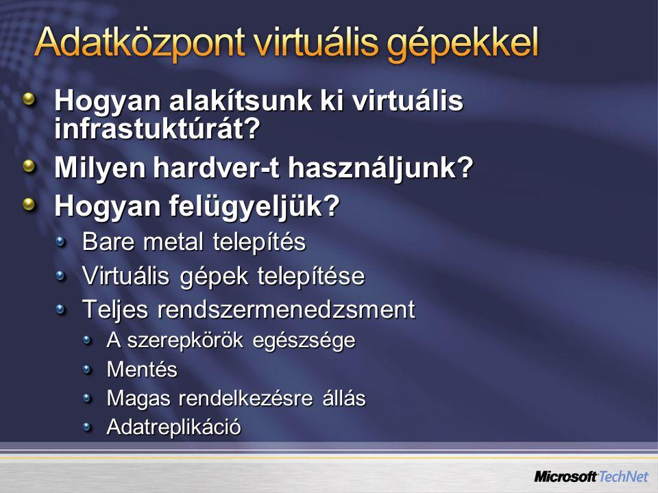 Hogyan alakítsunk ki virtuális infrastuktúrát? Milyen hardver-t használjunk? Hogyan felügyeljük? Bare metal telepítés Virtuális gépek telepítése Telje