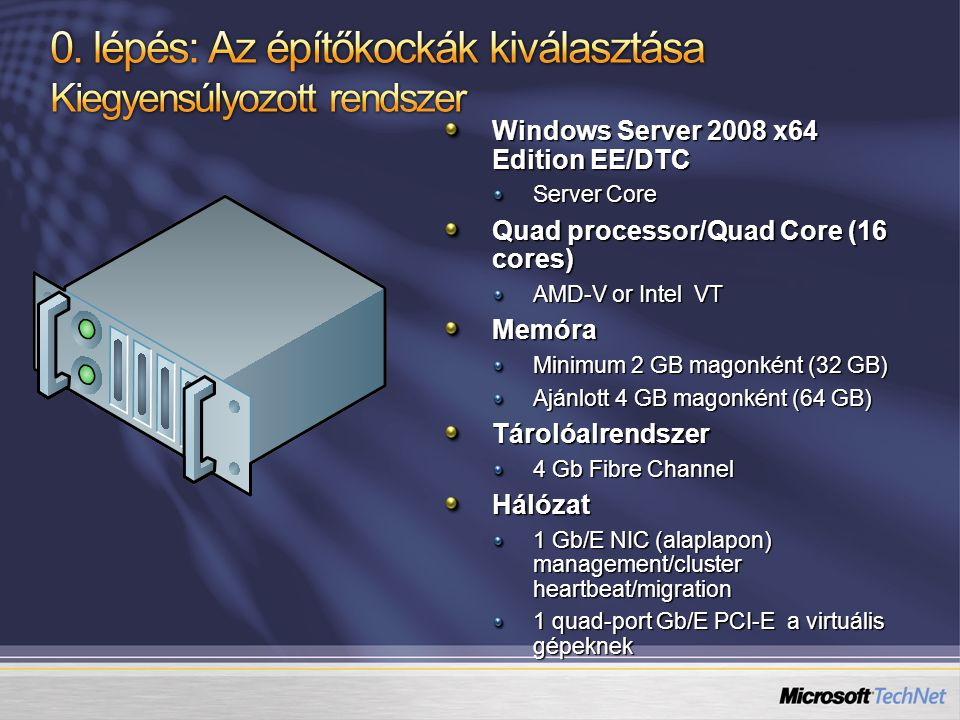 Windows Server 2008 x64 Edition EE/DTC Server Core Quad processor/Quad Core (16 cores) AMD-V or Intel VT Memóra Minimum 2 GB magonként (32 GB) Ajánlott 4 GB magonként (64 GB) Tárolóalrendszer 4 Gb Fibre Channel Hálózat 1 Gb/E NIC (alaplapon) management/cluster heartbeat/migration 1 quad-port Gb/E PCI-E a virtuális gépeknek