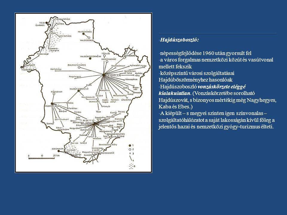 Hajdúszoboszló: népességfejlődése 1960 után gyorsult fel a város forgalmas nemzetközi közút és vasútvonal mellett fekszik középszintű városi szolgáltatásai Hajdúböszörményhez hasonlóak Hajdúszoboszló vonzáskörzete eléggé kialakulatlan.