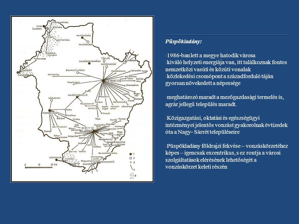 Püspökladány: 1986-ban lett a megye hatodik városa kiváló helyzeti energiája van, itt találkoznak fontos nemzetközi vasúti és közúti vonalak közlekedési csomópont a századforduló táján gyorsan növekedett a népessége meghatározó maradt a mezőgazdasági termelés is, agrár jellegű település maradt.
