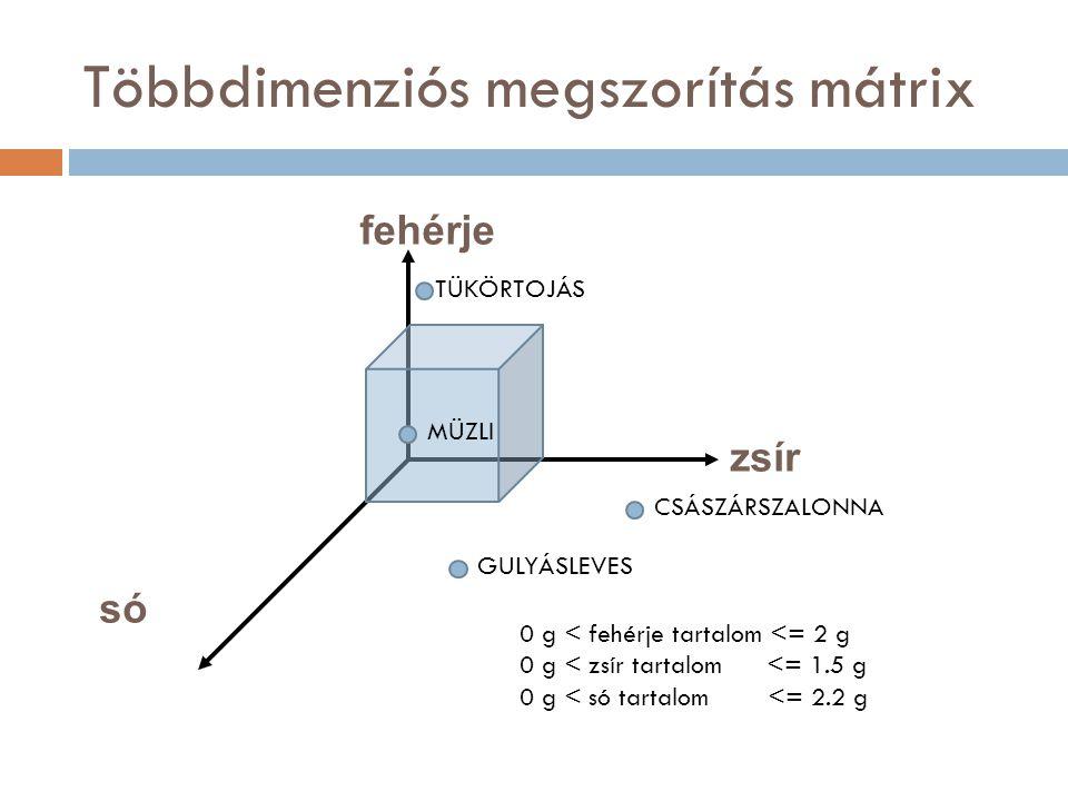 Többdimenziós megszorítás mátrix fehérje zsír só 0 g < fehérje tartalom <= 2 g 0 g < zsír tartalom <= 1.5 g 0 g < só tartalom <= 2.2 g CSÁSZÁRSZALONNA MÜZLI TÜKÖRTOJÁS GULYÁSLEVES