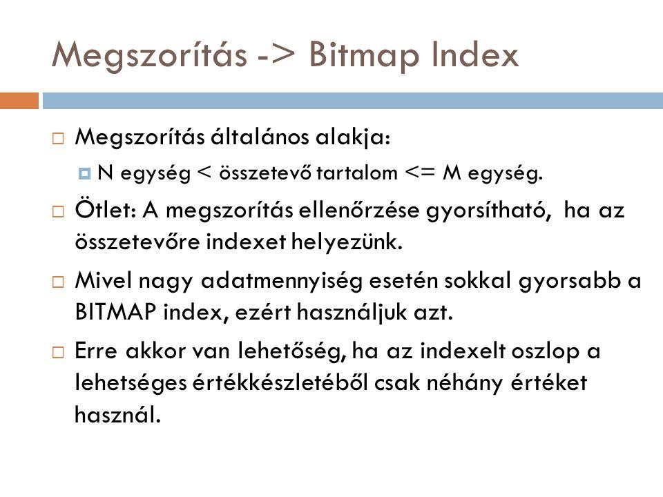 Megszorítás -> Bitmap Index  Megszorítás általános alakja:  N egység < összetevő tartalom <= M egység.  Ötlet: A megszorítás ellenőrzése gyorsíthat