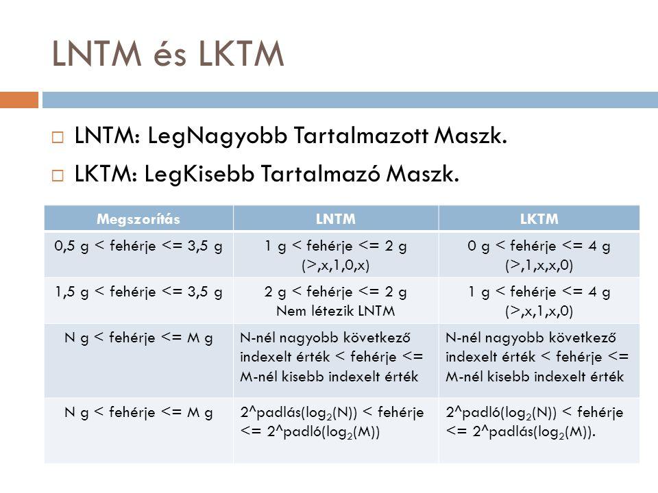 LNTM és LKTM  LNTM: LegNagyobb Tartalmazott Maszk.  LKTM: LegKisebb Tartalmazó Maszk. MegszorításLNTMLKTM 0,5 g < fehérje <= 3,5 g1 g,x,1,0,x) 0 g,1