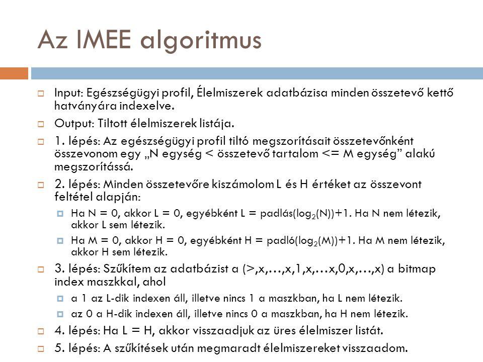 Az IMEE algoritmus  Input: Egészségügyi profil, Élelmiszerek adatbázisa minden összetevő kettő hatványára indexelve.  Output: Tiltott élelmiszerek l