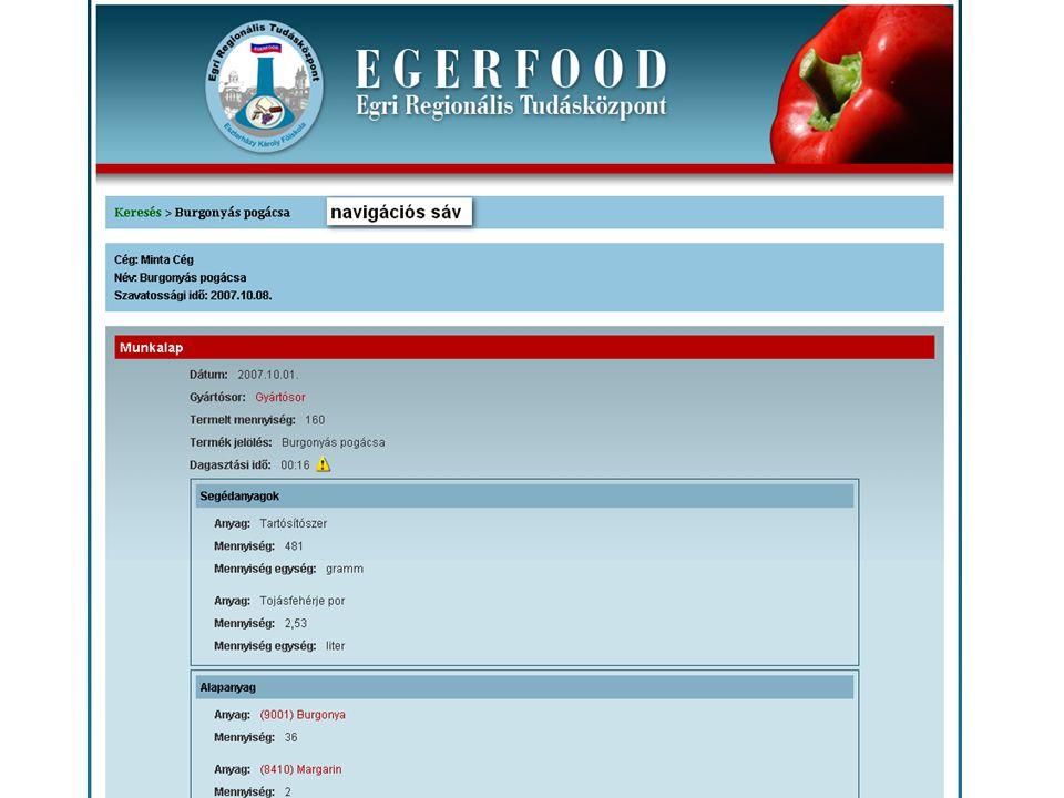 Az EgerFood információs rendszere Munkafolyamat gráf Az egyedülálló képességek kulcsa a munkafolyamat-gráf.