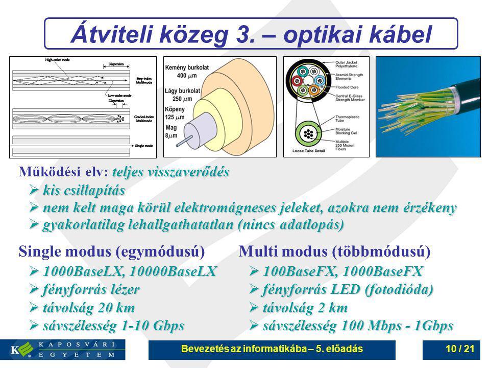 Bevezetés az informatikába – 5. előadás10 / 21 Átviteli közeg 3. – optikai kábel Single modus (egymódusú)  1000BaseLX, 10000BaseLX  fényforrás lézer