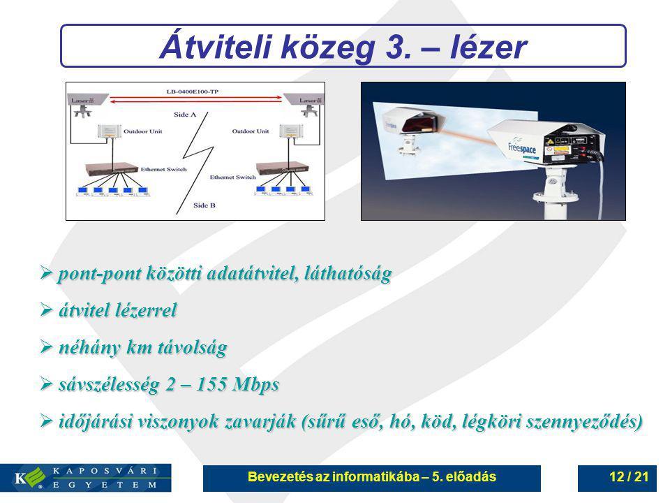 Bevezetés az informatikába – 5. előadás12 / 21 Átviteli közeg 3. – lézer  pont-pont közötti adatátvitel, láthatóság  átvitel lézerrel  néhány km tá