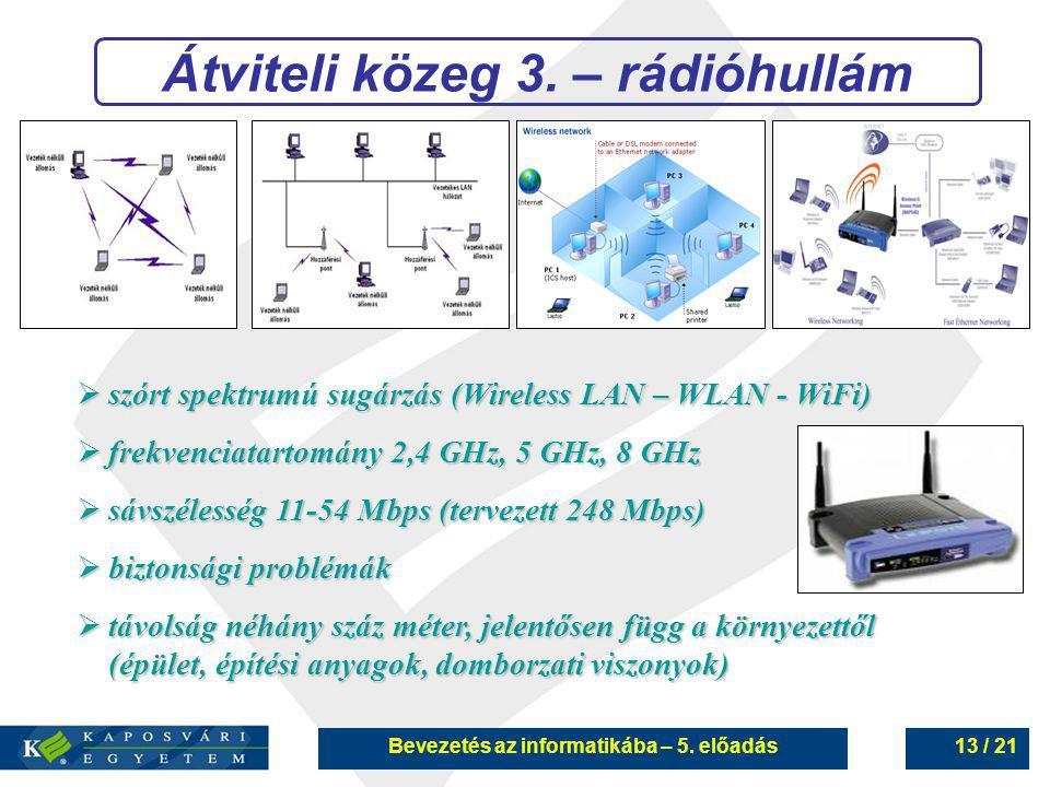 Bevezetés az informatikába – 5. előadás13 / 21 Átviteli közeg 3. – rádióhullám  szórt spektrumú sugárzás (Wireless LAN – WLAN - WiFi)  frekvenciatar
