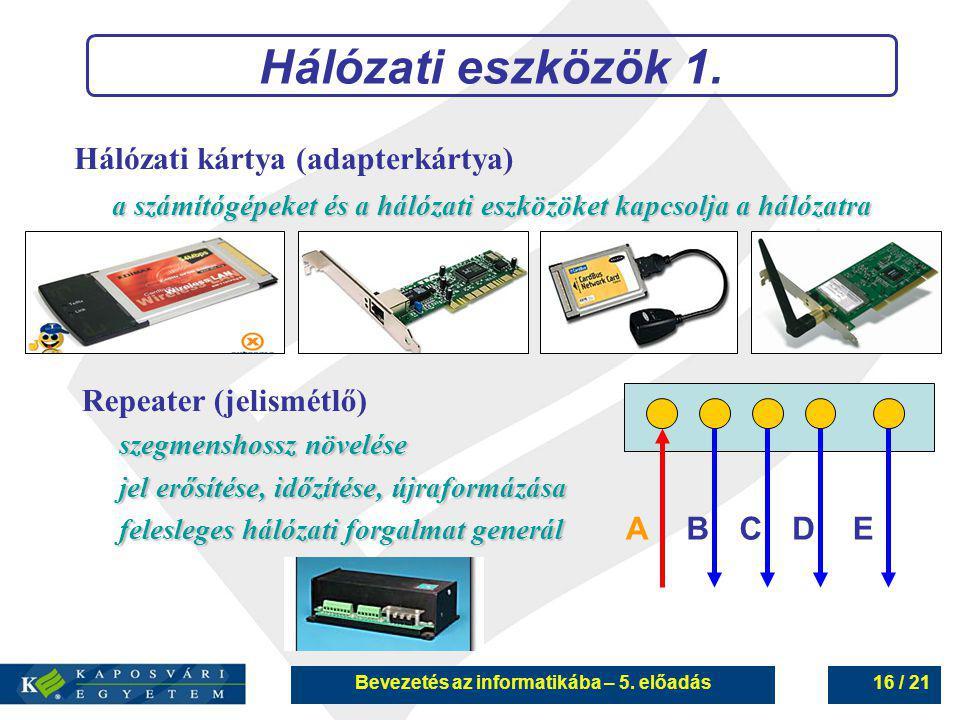 Bevezetés az informatikába – 5. előadás16 / 21 Hálózati eszközök 1. Hálózati kártya (adapterkártya) a számítógépeket és a hálózati eszközöket kapcsolj