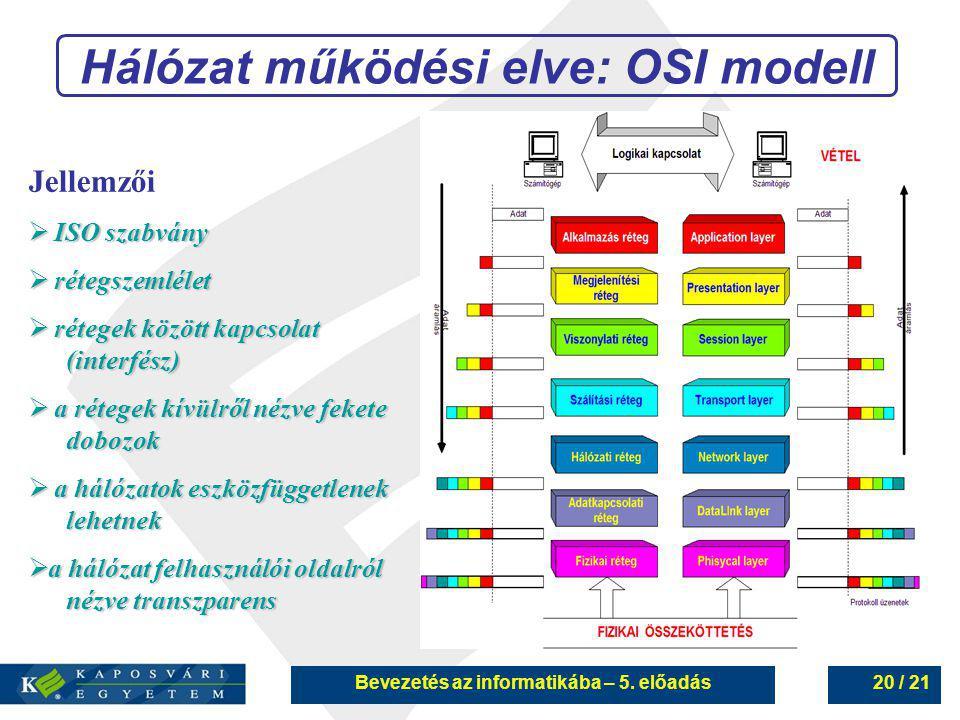 Bevezetés az informatikába – 5. előadás20 / 21 Hálózat működési elve: OSI modell Jellemzői  ISO szabvány  rétegszemlélet  rétegek között kapcsolat