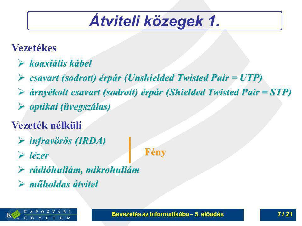 Bevezetés az informatikába – 5. előadás7 / 21 Átviteli közegek 1. Vezetékes  koaxiális kábel  csavart (sodrott) érpár (Unshielded Twisted Pair = UTP