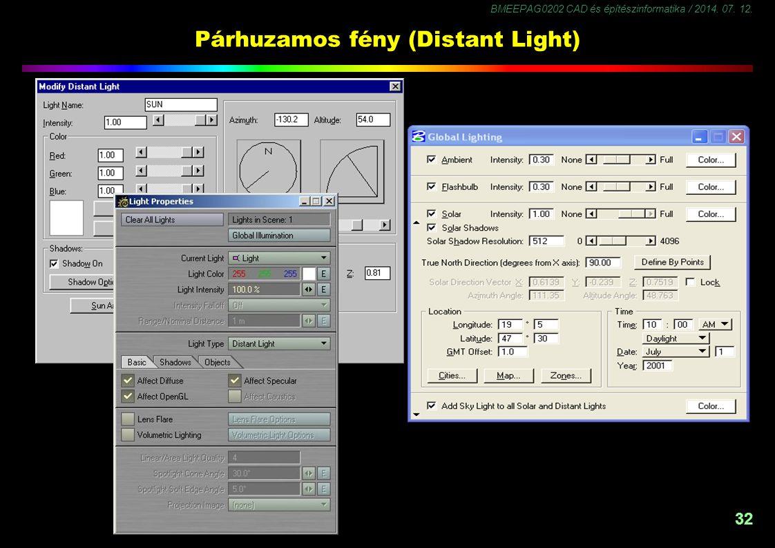 BMEEPAG0202 CAD és építészinformatika / 2014. 07. 12. 32 Párhuzamos fény (Distant Light)