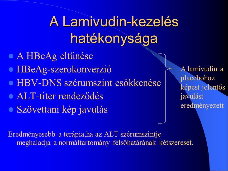 1. Táblázat. Napi 100mg lamivudin hatása HBV vírus által okozott krónikus májgyulladásra (két placebokontrollos klinikai vizsgálat eredményei) ALT:ala