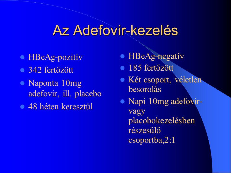 3. Adefovir-kezelés Adefovir:2002-ben engedélyezték (FDA) a hepatitis B vírus kezelésére az orális adenozin- analóg adefovir alkalmazását.