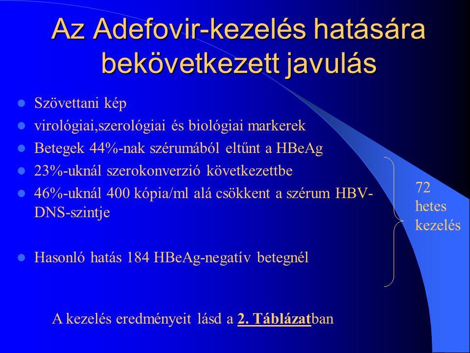 Az Adefovir-kezelés HBeAg-pozitív 342 fertőzött Naponta 10mg adefovir, ill. placebo 48 héten keresztül HBeAg-negatív 185 fertőzött Két csoport, véletl