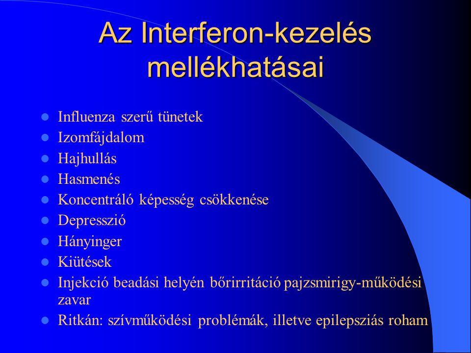 Az Interferon-kezelés mellékhatásai Influenza szerű tünetek Izomfájdalom Hajhullás Hasmenés Koncentráló képesség csökkenése Depresszió Hányinger Kiütések Injekció beadási helyén bőrirritáció pajzsmirigy-működési zavar Ritkán: szívműködési problémák, illetve epilepsziás roham