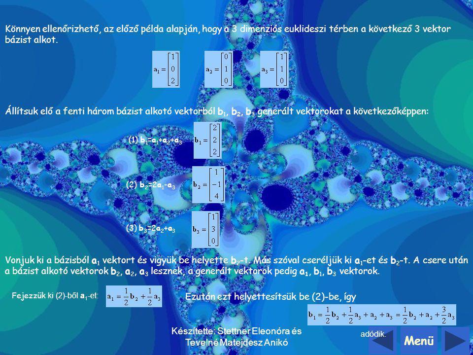 Menü Készítette: Stettner Eleonóra és Tevelné Matejdesz Anikó Nézzünk először egy két dimenziós példát: A bázisvektorok legyenekés A generált vektorok