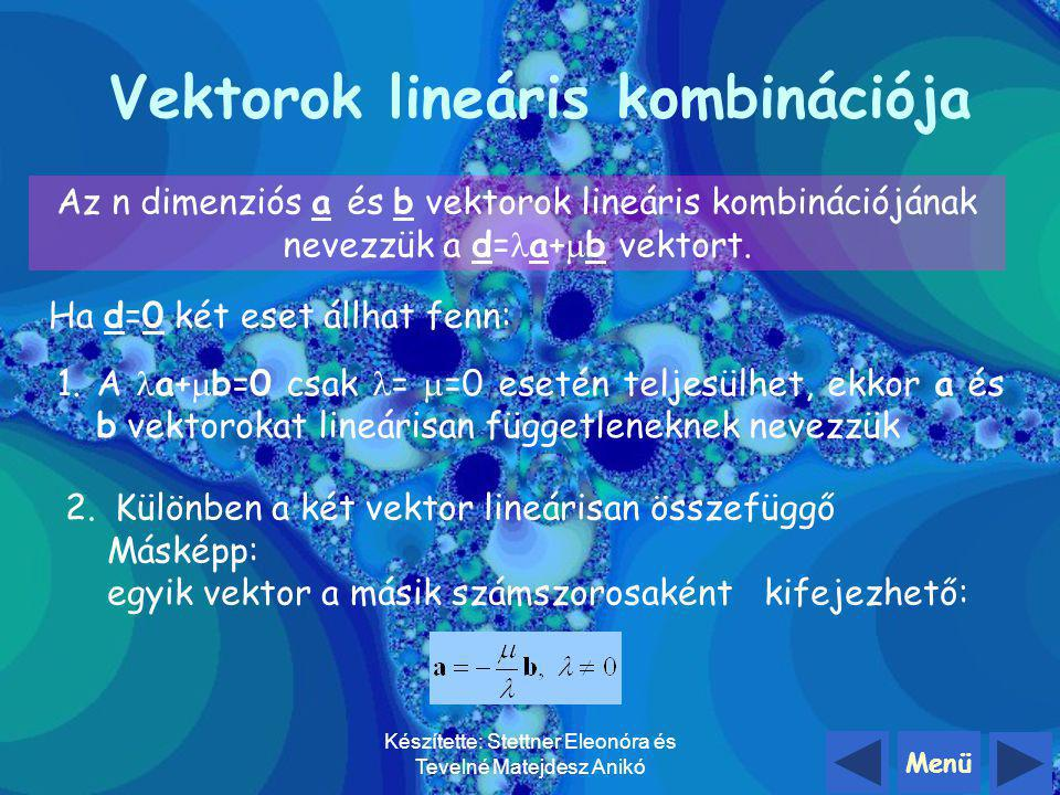 Készítette: Stettner Eleonóra és Tevelné Matejdesz Anikó Elemi bázistranszformáció Vektorok lineáris kombinációja Bázisai Elem bázistranszformáció Vis
