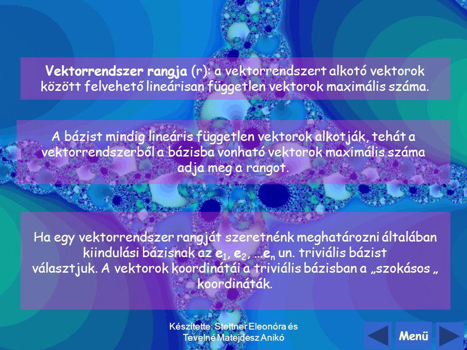 Menü Készítette: Stettner Eleonóra és Tevelné Matejdesz Anikó Nézzünk még egy konkrét példát a bázistranszformációra: Adott a 1, a 2, a 3 bázis és b 1