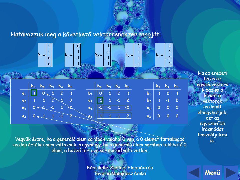 Menü Készítette: Stettner Eleonóra és Tevelné Matejdesz Anikó Vektorrendszer rangja (r): a vektorrendszert alkotó vektorok között felvehető lineárisan