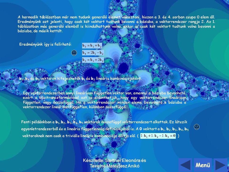 Menü Készítette: Stettner Eleonóra és Tevelné Matejdesz Anikó Határozzuk meg a következő vektorrendszer rangját: b1b1 b2b2 b3b3 b4b4 b5b5 e1e1 10121 e