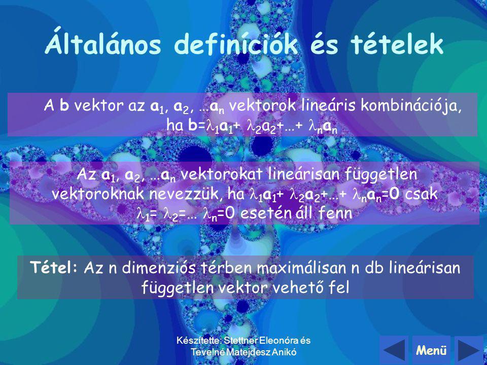 Menü Készítette: Stettner Eleonóra és Tevelné Matejdesz Anikó Összességében elmondhatjuk, hogy d vektor az a és b vektorok síkjában fekszik, a, b, d v
