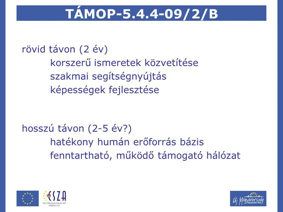 TÁMOP-5.4.4-09/2/B rövid távon (2 év) korszerű ismeretek közvetítése szakmai segítségnyújtás képességek fejlesztése hosszú távon (2-5 év ) hatékony humán erőforrás bázis fenntartható, működő támogató hálózat