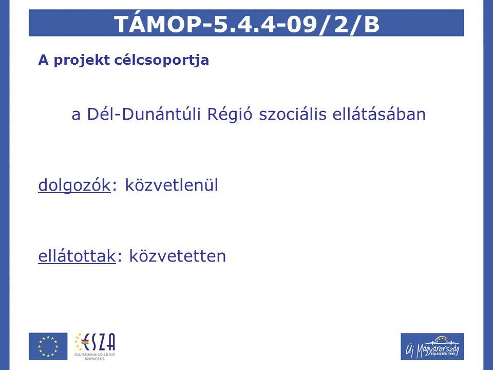TÁMOP-5.4.4-09/2/B A projekt célcsoportja a Dél-Dunántúli Régió szociális ellátásában dolgozók: közvetlenül ellátottak: közvetetten