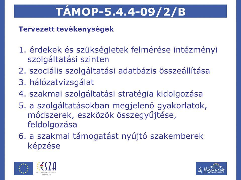 TÁMOP-5.4.4-09/2/B Tervezett tevékenységek 1.