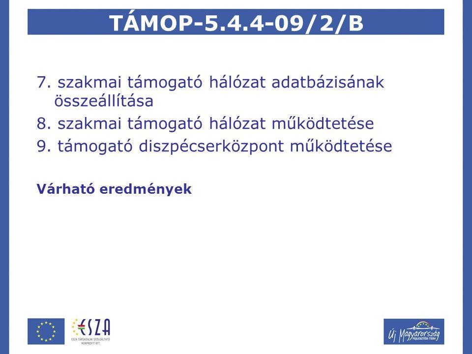 TÁMOP-5.4.4-09/2/B A projekt egyedisége a támogató hálózat egy fejleszthető azaz dinamikus eszköz marad a szakemberek kezében a projekt értékelése során mind a befogadási, mind a tartalmi kritériumok tekintetében elismerést nyert