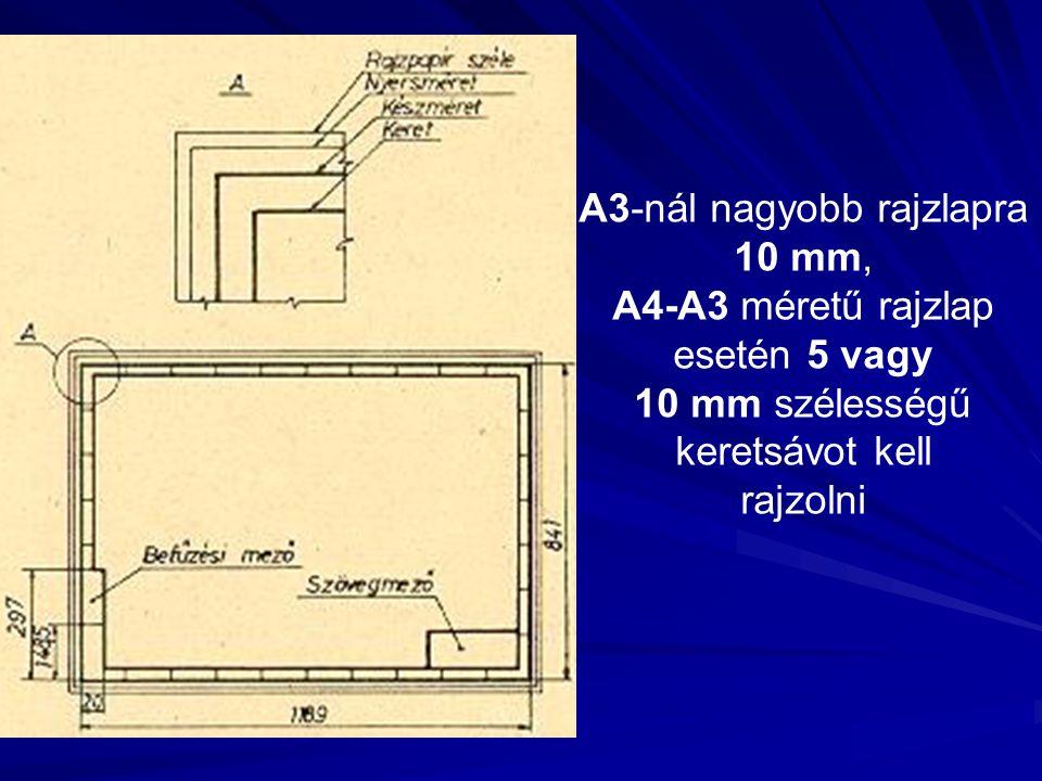 A3-nál nagyobb rajzlapra 10 mm, A4-A3 méretű rajzlap esetén 5 vagy 10 mm szélességű keretsávot kell rajzolni