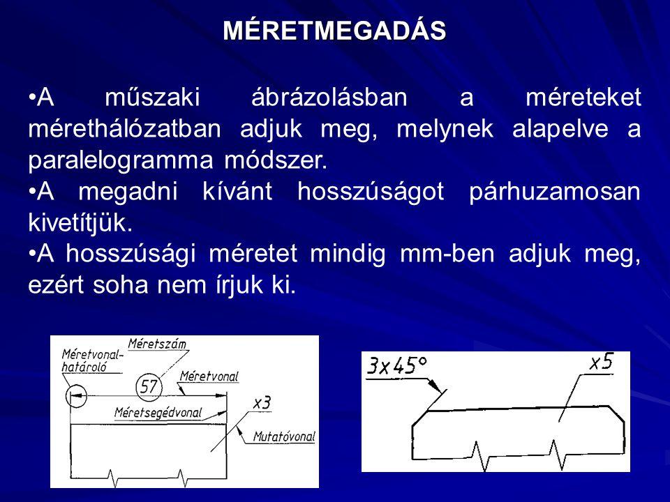 MÉRETMEGADÁS A műszaki ábrázolásban a méreteket mérethálózatban adjuk meg, melynek alapelve a paralelogramma módszer. A megadni kívánt hosszúságot pár