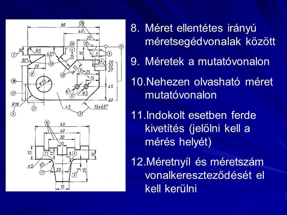 8.Méret ellentétes irányú méretsegédvonalak között 9.Méretek a mutatóvonalon 10.Nehezen olvasható méret mutatóvonalon 11.Indokolt esetben ferde kivetí