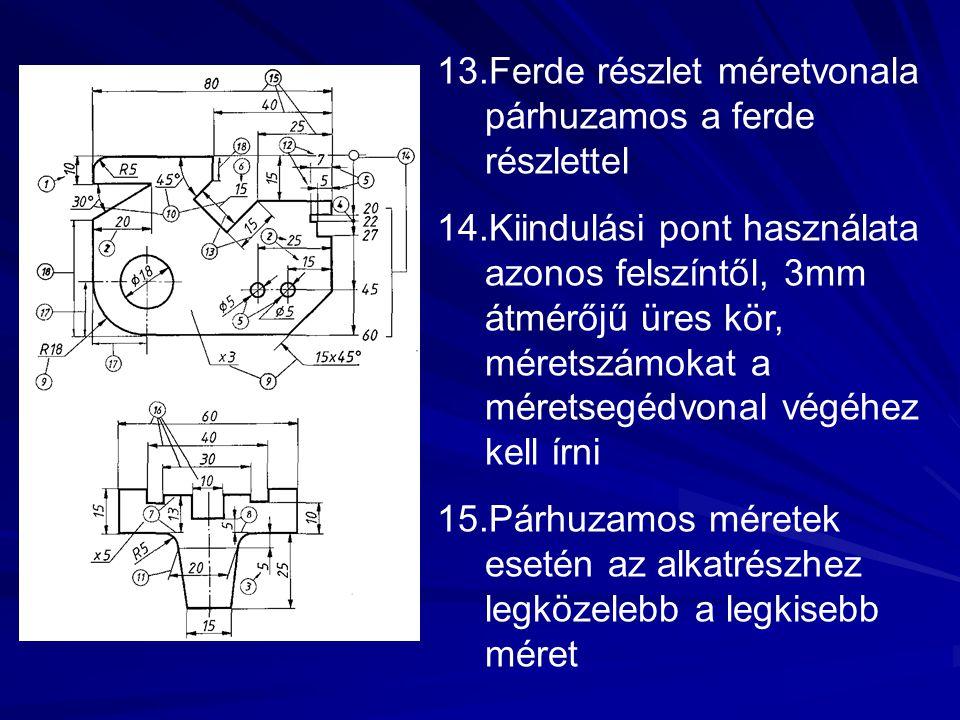 13.Ferde részlet méretvonala párhuzamos a ferde részlettel 14.Kiindulási pont használata azonos felszíntől, 3mm átmérőjű üres kör, méretszámokat a mér