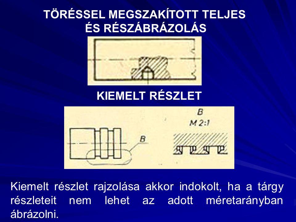 TÖRÉSSEL MEGSZAKÍTOTT TELJES ÉS RÉSZÁBRÁZOLÁS KIEMELT RÉSZLET Kiemelt részlet rajzolása akkor indokolt, ha a tárgy részleteit nem lehet az adott méret