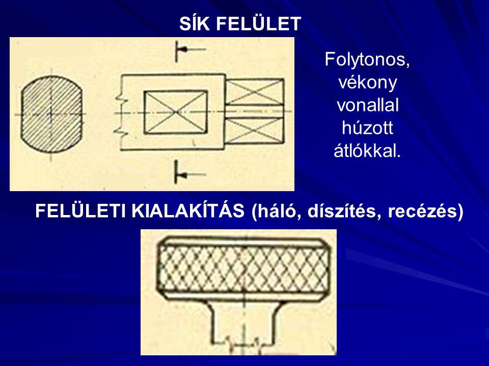 SÍK FELÜLET FELÜLETI KIALAKÍTÁS (háló, díszítés, recézés) Folytonos, vékony vonallal húzott átlókkal.