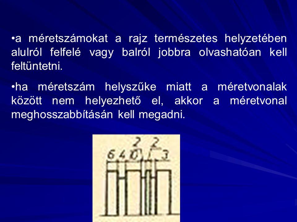 a méretszámokat a rajz természetes helyzetében alulról felfelé vagy balról jobbra olvashatóan kell feltüntetni. ha méretszám helyszűke miatt a méretvo
