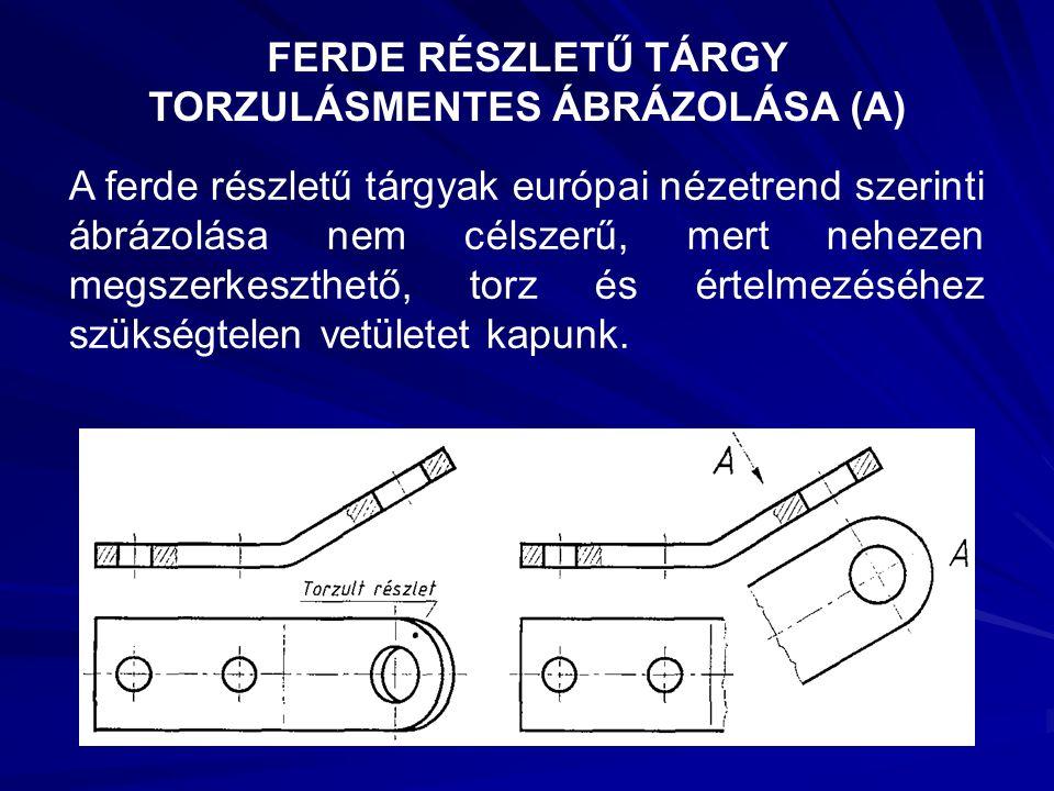 FERDE RÉSZLETŰ TÁRGY TORZULÁSMENTES ÁBRÁZOLÁSA (A) A ferde részletű tárgyak európai nézetrend szerinti ábrázolása nem célszerű, mert nehezen megszerke