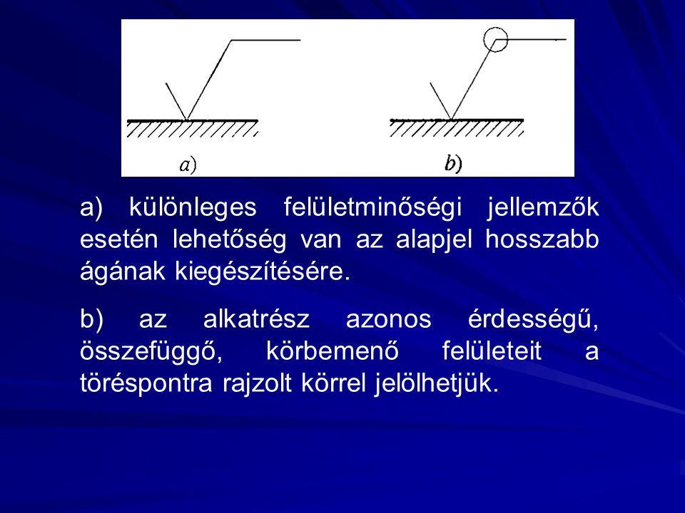 a) különleges felületminőségi jellemzők esetén lehetőség van az alapjel hosszabb ágának kiegészítésére. b) az alkatrész azonos érdességű, összefüggő,