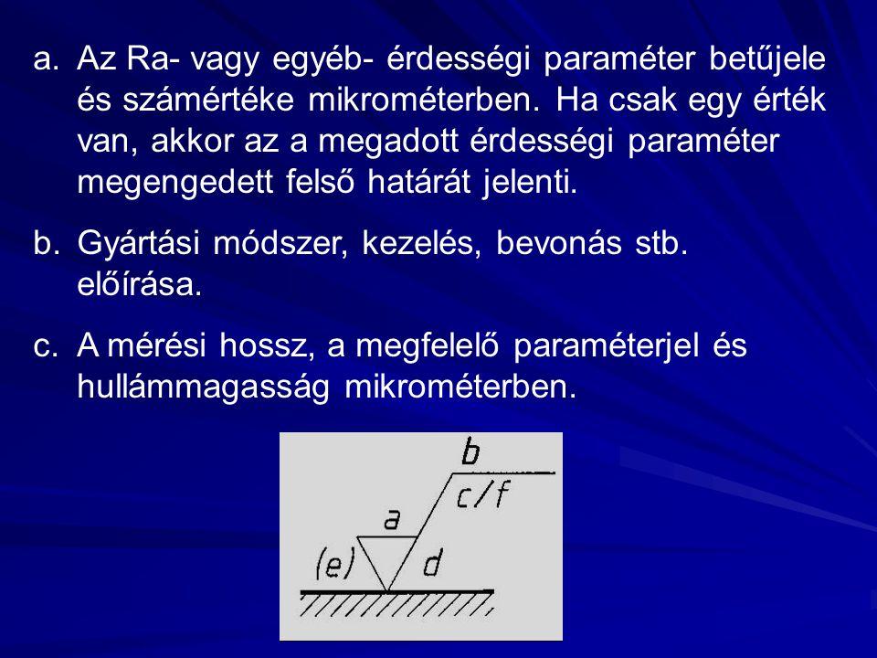 a.Az Ra- vagy egyéb- érdességi paraméter betűjele és számértéke mikrométerben. Ha csak egy érték van, akkor az a megadott érdességi paraméter megenged