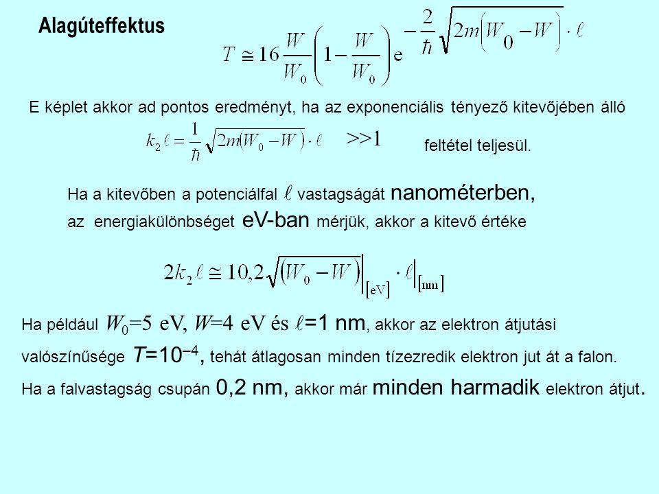 E képlet akkor ad pontos eredményt, ha az exponenciális tényező kitevőjében álló >>1 feltétel teljesül.
